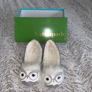 "Kate Spade ""Samantha"" Owl Slippers - NIB"